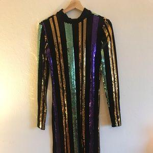 Zara Black Velvet Sequin Midi Mock Neck Dress S